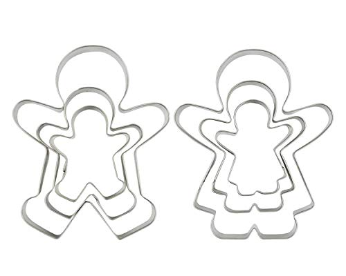 SOSOHOME Funny Gingerbread Man Cookie Cutters, Boy and Girl Cookie Cutter Set Molds, 6 Piece
