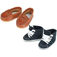 Sophia's 18 Inch Doll Boy Shoes by Navy Sneaker and Brown Loafers for Girl or Boy Dolls