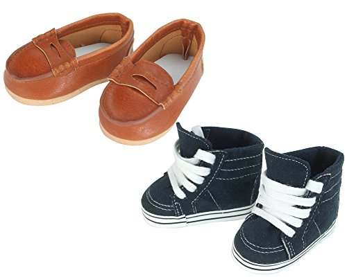 Sophia's 18 Inch Doll Boy Shoes by Navy Sneaker and Brown Loafers for Girl or Boy Dolls ()