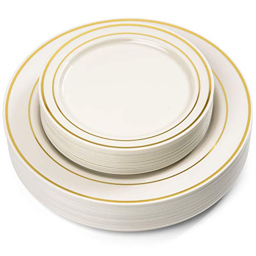 50 Piece Gold Rimmed Ivory Plastic Plate - Set for 25 Guest By Oasis Creations- 25x9'' and 25x6