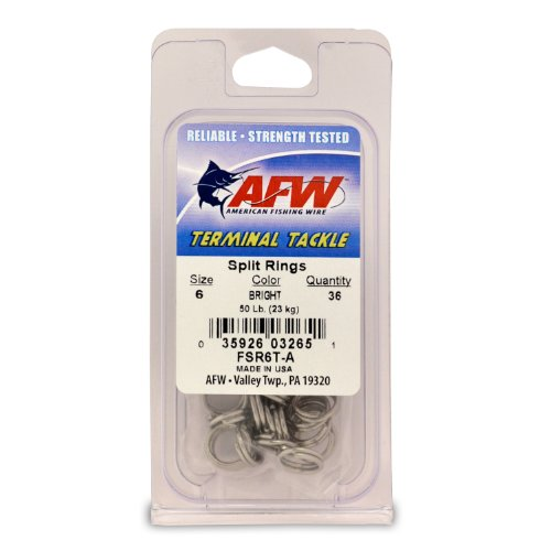 American Fishing Wire Split Rings (Stainless Steel), Bright Color, Size 6, 50 Pound Test, 36-Pieces