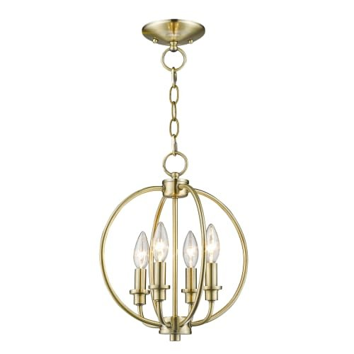 Cheap Livex Lighting 4664-01 Milania 4-Light Convertible Hanging Lantern/Ceiling Mount, Antique Brass