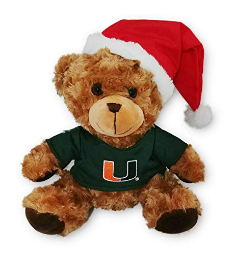 (A&T Designs University of Miami Christmas Santa Teddy Bear Stuffed Animal Plush Doll - Genuine College)