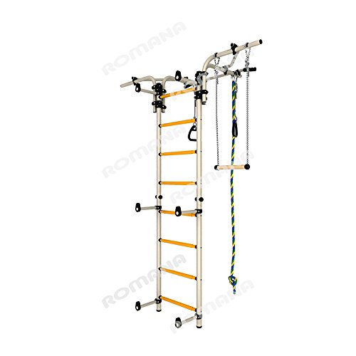Kids Indoor Sport Playground /Wall Mounted Gym Training Set with Trapeze Bar Swing, Climber, Climbing Rope, Jump Rope, Gymnastic Rings / Suit for Backyard, School and Playroom / Comet Next 2 (White)