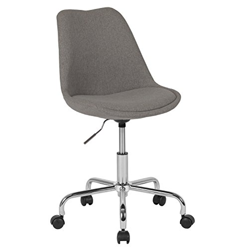 Chrome Fabric Chair - Flash Furniture Aurora Series Mid-Back Light Gray Fabric Task Chair with Pneumatic Lift and Chrome Base