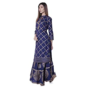 ERISHA Straight Rayon Gold Print Kurti Skirt Set for Women_Royal Blue