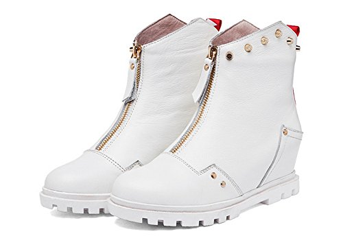 AmoonyFashion Womens Round-Toe Closed-Toe Kitten-Heels Boots With Ornamented and Platform Beige YcBBeu