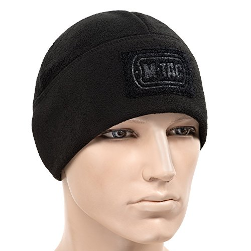 M-Tac Skull Cap Windproof 380 Winter Hat with Velcro Mens Watch Tactical Beanie (Black, Large)