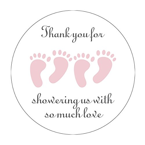 MAGJUCHE Pink It's Twins Thank You for Coming Baby Shower Stickers, Two Girls Little Feet Party Favor Stickers, 2 Inch, 40-Pack