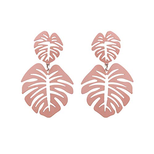 Kofun Earrings, Leaf Earrings Alloy Hollow Simple Luxury Women Jewelry Lady Elegant Gifts Charms Stylish Wedding Party Prom Dangle Statement Casual Accessories Pink