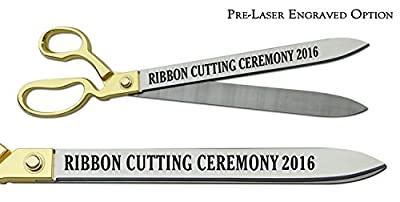"Pre-Laser Engraved ""RIBBON CUTTING CEREMONY 2016"" 20"" Gold Plated Handles Ceremonial Ribbon Cutting Scissors"