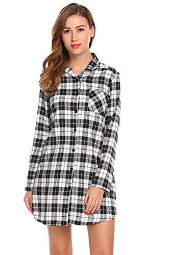 Button Front Nightshirt - Dicesnow Women Button Down Plaid Boyfriend Night Dress Long Sleeve Nightshirt Sleepwear
