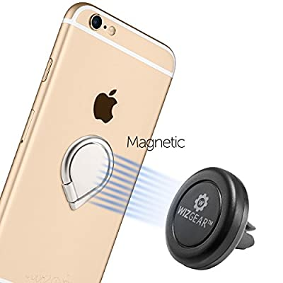 Ring for Phone (2 Pack), WizGear Universal Ring Holder Grip with Stand Holder and Magnet for Magnetic Car Mount for All Smartphones and Devices (Gun-Black)