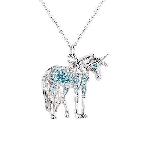 luomart Unicorn Birthstone Necklace Jewelry White Gold Plated Austrian Crystal Horse Pendant Gift (Aqua)