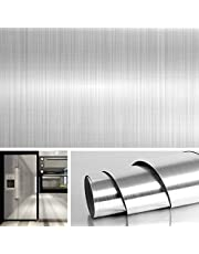 Livelynine Brushed Nickel Vinyl Peel and Stick Wallpaper Decorative Stainless Steel Wall Paper for Countertops Kitchen Cabinets Appliance Dishwasher Mini Refrigerator Oven Dryer Covers 15.8x78.8 Inch