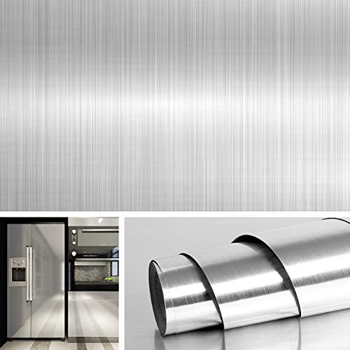 Livelynine Brushed Nickel Peel and Stick Wallpaper Decorative Stainless Steel Contact Paper for Countertops Kitchen Cabinets Appliance Dishwasher Mini Refrigerator Oven Dryer Covers 15.8x78.8 Inch