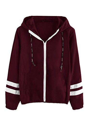 Hood Apparel - SweatyRocks Women's Drawstring Hooded Zip Up Sports Jacket Windproof Windbreaker Coat Burgundy XL