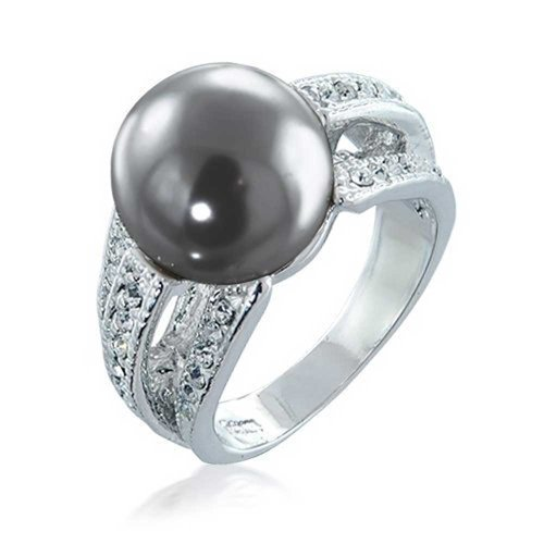 Pave CZ Grey Simulated Pearl Cocktail Ring Rhodium Plated (Pearl Simulated Plated)