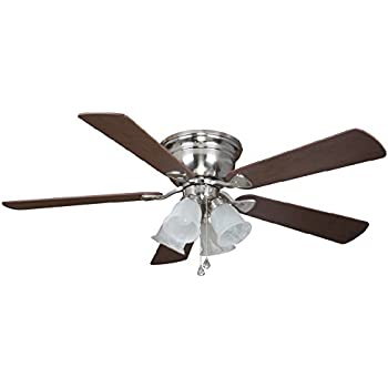 Hardware House 17 4985 Satin Nickel 52 Inch Flush Mount Ceiling Fan With Light Kit Cherry Or