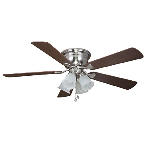 Harbor Breeze Centreville 52-in Brushed Nickel Indoor Flush Mount Ceiling Fan with Light Kit