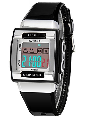 Cheamlion Kids Black Waterproof Elastic Chronograph Digital Watch for Boys by Cheamlion
