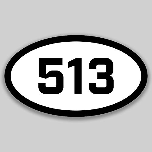 DHDM 513 Area Code Sticker Ohio Cincinnati Fairfield Hamilton City Pride Love | 5-Inches by 3-Inches | Premium Quality Vinyl UV Resistant Laminate PD2272]()