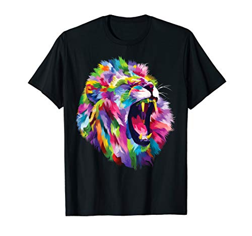 (Lion Shirt Colorful Roaring Lion's head Artistic T-Shirt)
