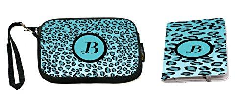 Rikki Knight Letter B Sky Blue Leopard Print Monogrammed Design Neoprene Clutch Wristlet with Matching Passport Holder