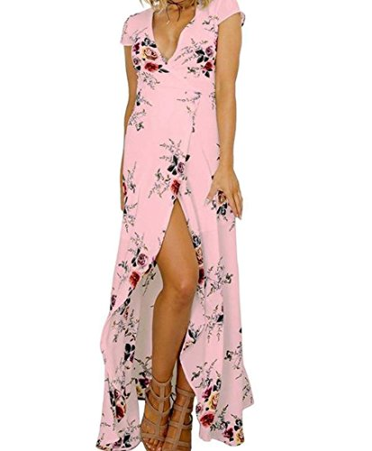 Pink Casual Neck Dress Side Floral Womens Mid Slit Sexy Coolred Length V 6gPOn