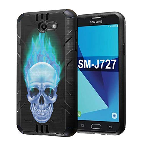 Capsule Case Compatible with Samsung Galaxy J7 Prime, J7 Perx, J7 Sky Pro, J7 V, Galaxy Halo, Galaxy J7 SM-J727 (Year 2017) [Dual Layer Slim Defender Case Black] - (Blue Flame Skull)]()