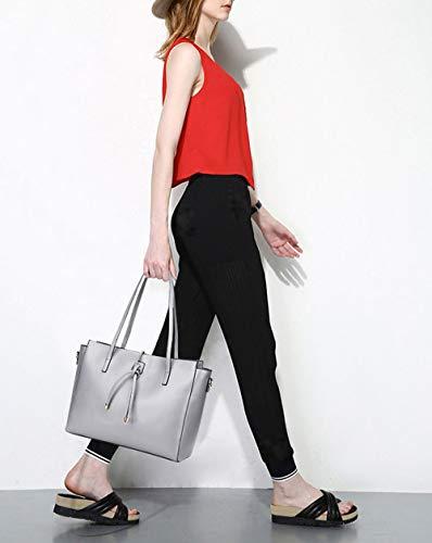 DEERWORD Femme menotte portés Sacs cartables Sacs 3pc portés Sacs Rouge Sacs main Gris épaule Sacs bandoulière ensemble Vineux rrwFxUpdq