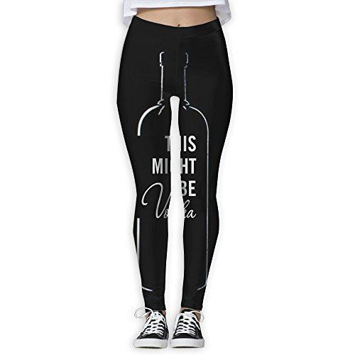 Wine Bottle This Might Be Vodka Women's Straight Yoga Pants Stretch Slim Skinny Solid Trousers Sports (Straight Vodka)