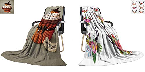 YOYI-home Warm Microfiber All Season Blanket Halloween Cake, Holiday Greeting Card Print Image Thicken Blanket 60