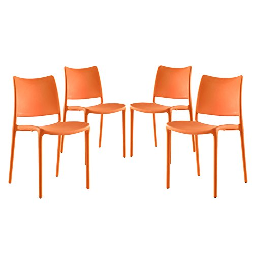 Modway Hipster Contemporary Modern Molded Plastic Stacking Four Kitchen and Dining Room Chairs in Orange - Fully Assembled (Chairs Outdoor Plastic Contemporary)