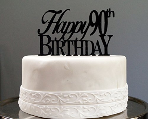 All About Details Black Happy 90th Birthday Cake Topper