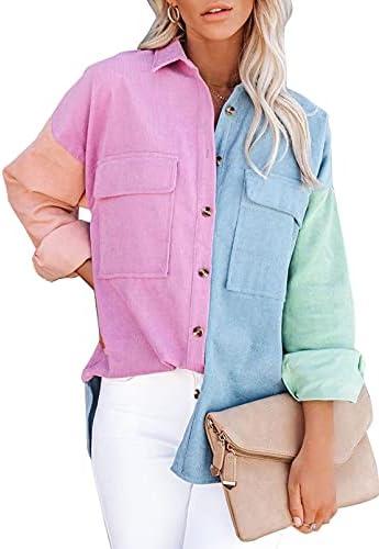 Sidefeel Women Corduroy Long Sleeve Button Down Shirt Oversized Jacket Tops
