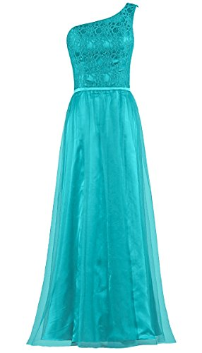 Shoulder Lace Long One Dresses Bridesmaid Women's ANTS Jade Gowns Tulle ZBqwOO