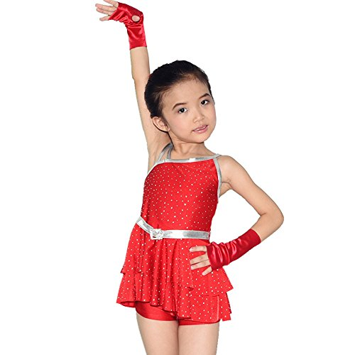 MiDee Flamenco Dancewear Modern Dance Dress Sequin Leotard Jazz Dress Cheap Ballroom Dance Competition Dresses (XXSC, (Flamenco Dance Costumes For Girls)