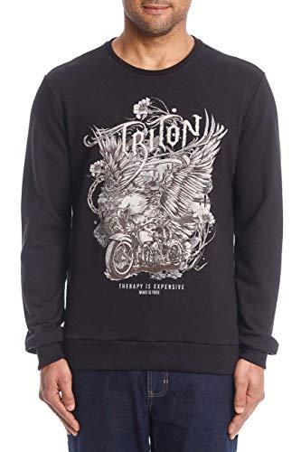 Triton Blusa de Moletom Fleece com Estampa Carimbada Masculino, G, Preto