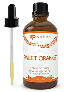 UpNature The Best Sweet Orange Essential Oil 4 OZ - 100% Pure Unrefined GMO Free Premium Quality - With Dropper - Great For Diffuser & Pest Control