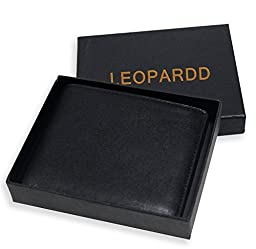 RFID Blocking Leather Wallet for Men - Excellent Credit Card Protector - Stop Electronic Pick Pocketing By Leopardd Made with #1 Grade Napa Genuine Leather