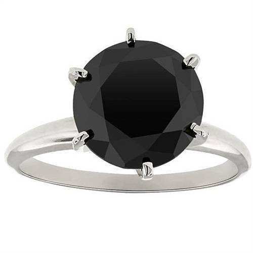 - 3ct Black Diamond Solitaire Engagement Ring 14K White Gold - Size 10