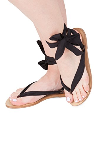 Sandals women summer shoes. Ribbon shoes wedding shoes. Spring beach sandals for girls Black 0rXMj