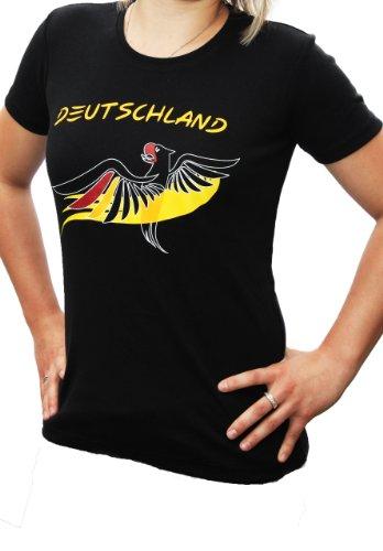 Fanshirt Deutschland - Fußball EM 2016, T-Shirt Damen (M, schwarz)