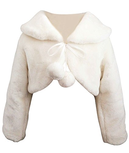 Miyalisa Ivory Flower Girl Cape Wedding Party Wrap Bolero Jacket S (1T - 3T) by Funtrees