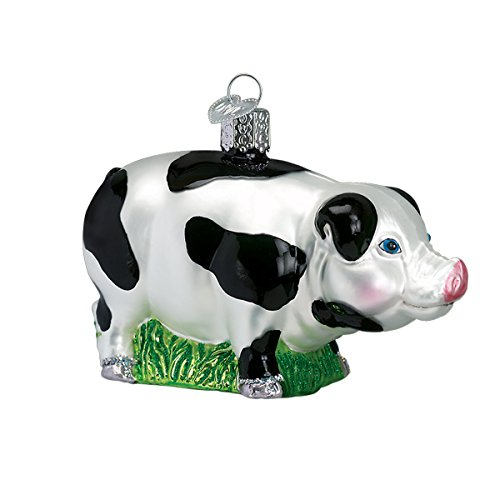 Blown Glass Pig (Old World Christmas Glass Blown Ornament with S-Hook and Gift Box, Zoo Animals Collection (Big Pig [Spotted]))