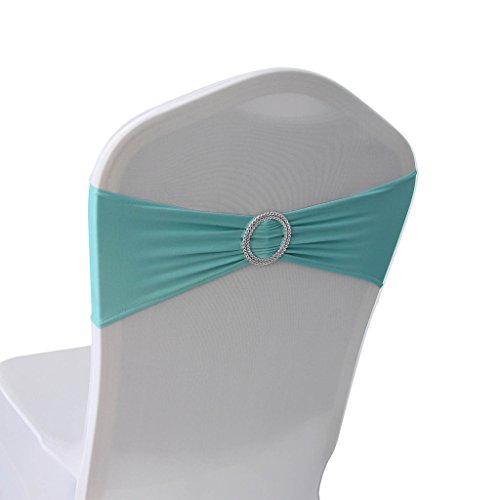 Any Sash Color (Tiffany Blue Spandex Chair Bands Sashes - 50 pcs Wedding Banquet Party Event Decoration Chair Bows Ties (Tiffany Blue, 50))
