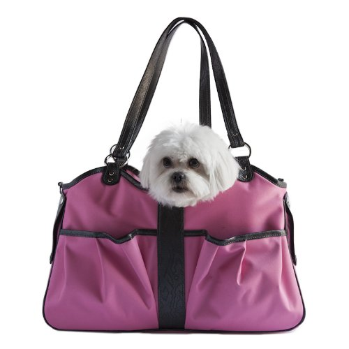Petote Metro Dog Carrier Bags with 2 Open Pockets, Fuschia Pink, Petite