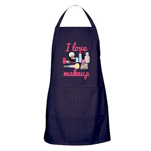 CafePress I Love Makeup Apron (Dark) Kitchen Apron with Pockets, Grilling Apron, Baking Apron