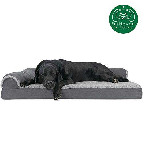 Furhaven Pet Dog Bed | Deluxe Orthopedic Two-Tone Plush Faux Fur & Suede L Shaped Chaise Lounge Living Room Corner Couch Pet Bed w/ Removable Cover for Dogs & Cats, Stone Gray, Jumbo